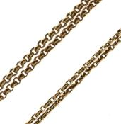 Two yellow metal necklaces of filed belcher link design, both stamped 9ct, one 42cm long, the