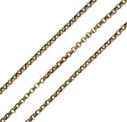 Yellow metal belcher link necklace stamped 9c, 53cm long, 11g approx Condition: **General