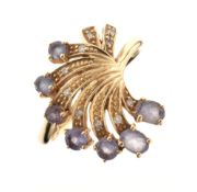 Jane Watling 9ct gold dress ring set seven pale lilac stones, size P, 3.2g gross approx