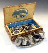Modern inlaid Sorrento ware jewellery casket containing a selection of costume jewellery,