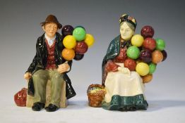Royal Doulton 'The Balloon Man' (HN1954), together with 'The Old Balloon Seller' (HN1315) Condition: