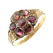 Rare Victorian 12ct gold dress ring set cluster of seven red garnet-coloured stones, possibly