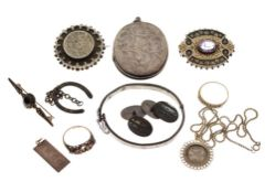 Assorted silver and white metal jewellery to include a Victorian Aesthetic period silver brooch