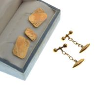Cased pair of 9ct gold cufflinks, each with engraved canted oblong panel, together with a matching