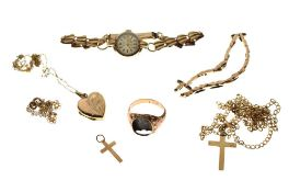 Assorted 9ct gold, yellow metal and unmarked jewellery to include lady's wristwatch, heart-shaped