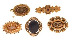 Group of Victorian and later gold and yellow metal brooches to include a Chester 1917 hallmarked