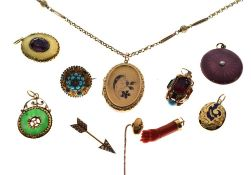 Group of assorted mainly unmarked yellow metal jewellery to include enamelled photographic locket,