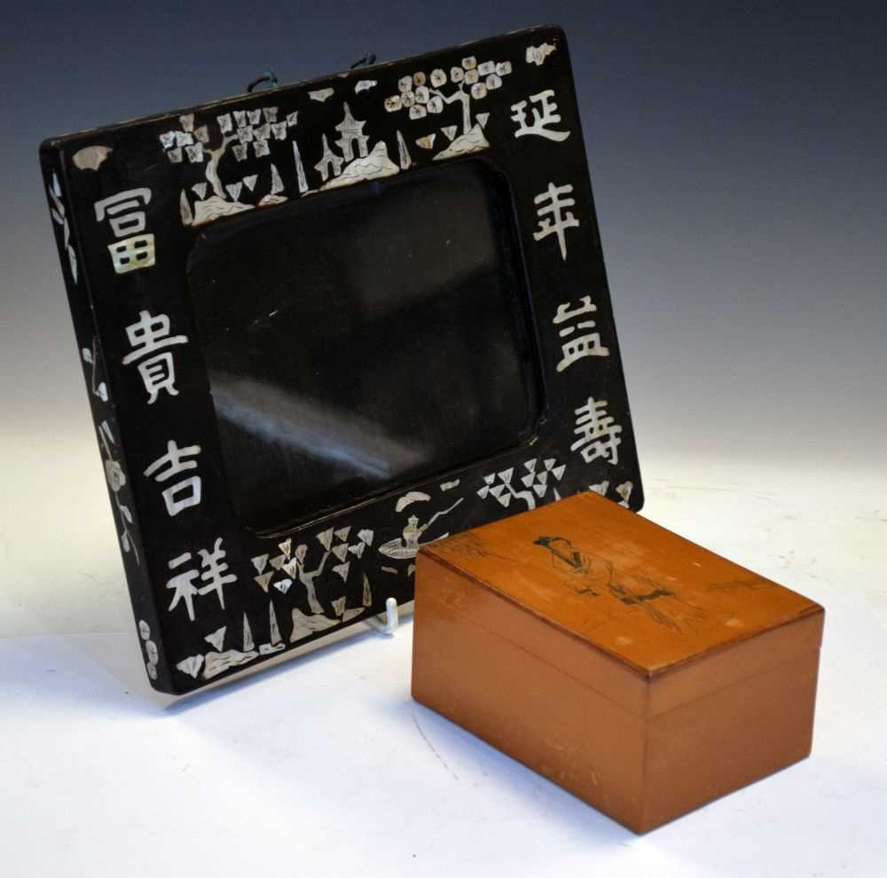 Asian inlaid picture frame + Japanese box