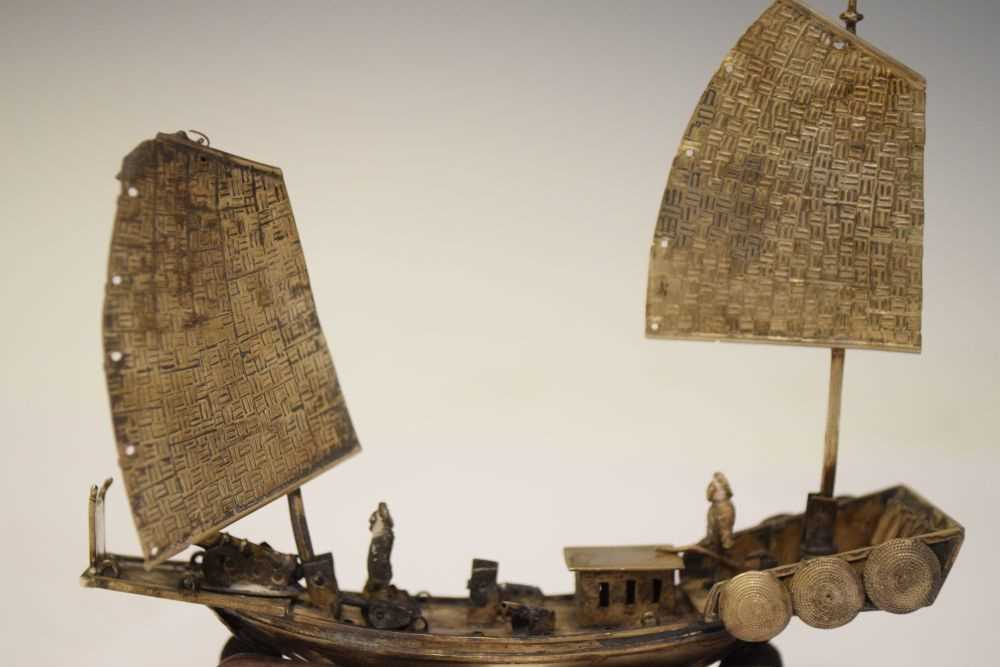 Two Chinese white metal models of junks, - Image 3 of 6