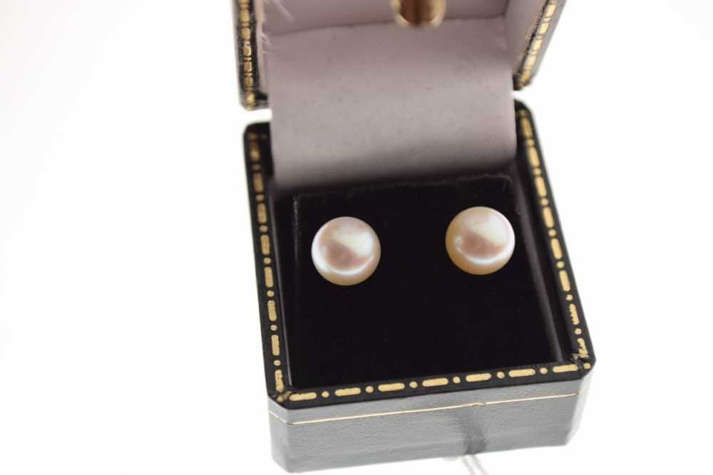 Pair of cultured pearl ear studs - Image 2 of 4