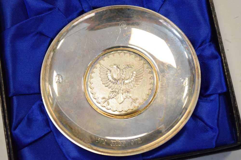 Pair of Elizabeth II Britannia standard silver pin dishes commemorating the 300th anniversary - Image 3 of 6