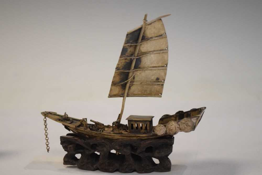 Two Chinese white metal models of junks, - Image 6 of 6