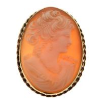 20th Century carved shell cameo in 9ct frame