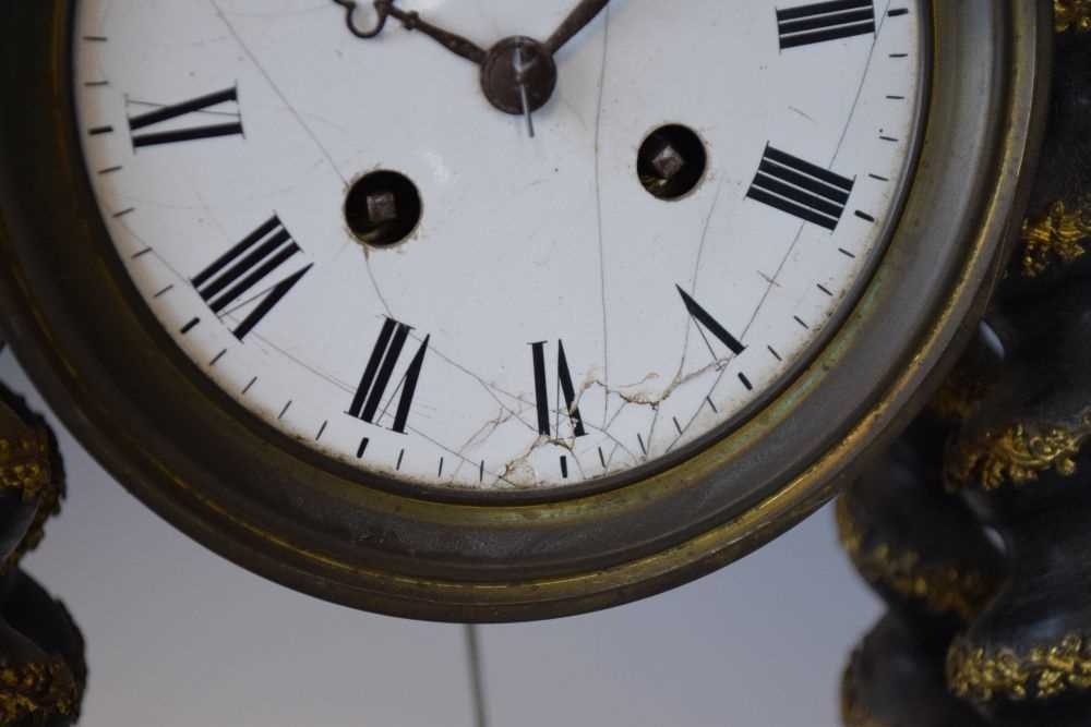 19th Century French ebonised portico clock - Image 3 of 13