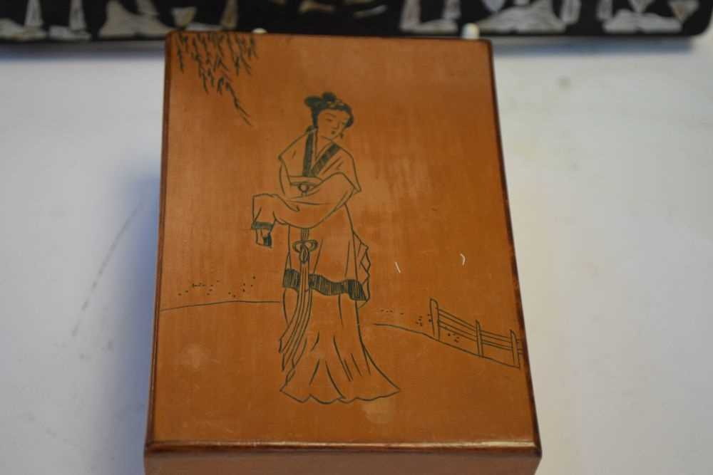 Asian inlaid picture frame + Japanese box - Image 2 of 9