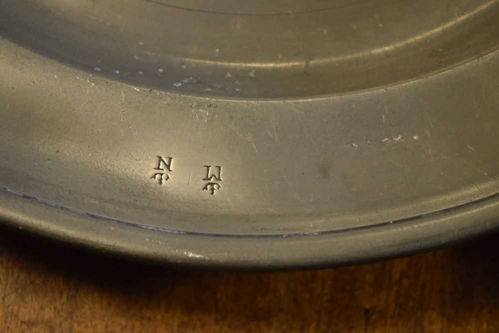 Pair of antique pewter plates, and a stoneware flagon - Image 2 of 6