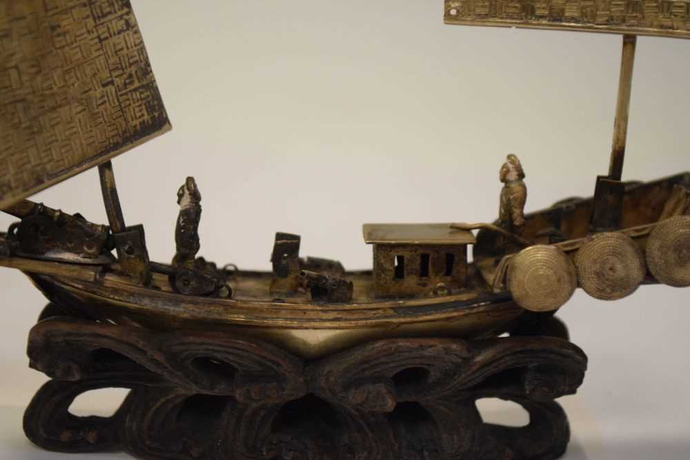 Two Chinese white metal models of junks, - Image 2 of 6