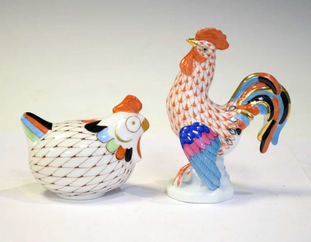 Herend hand painted figure of a cockerel together with a Hollohaza figure