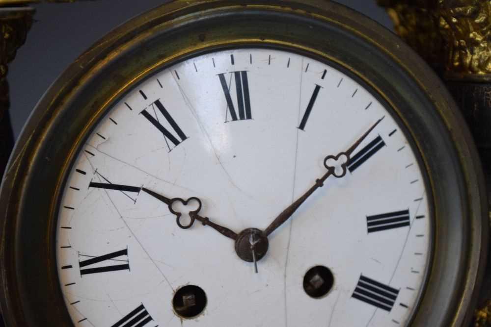 19th Century French ebonised portico clock - Image 2 of 13
