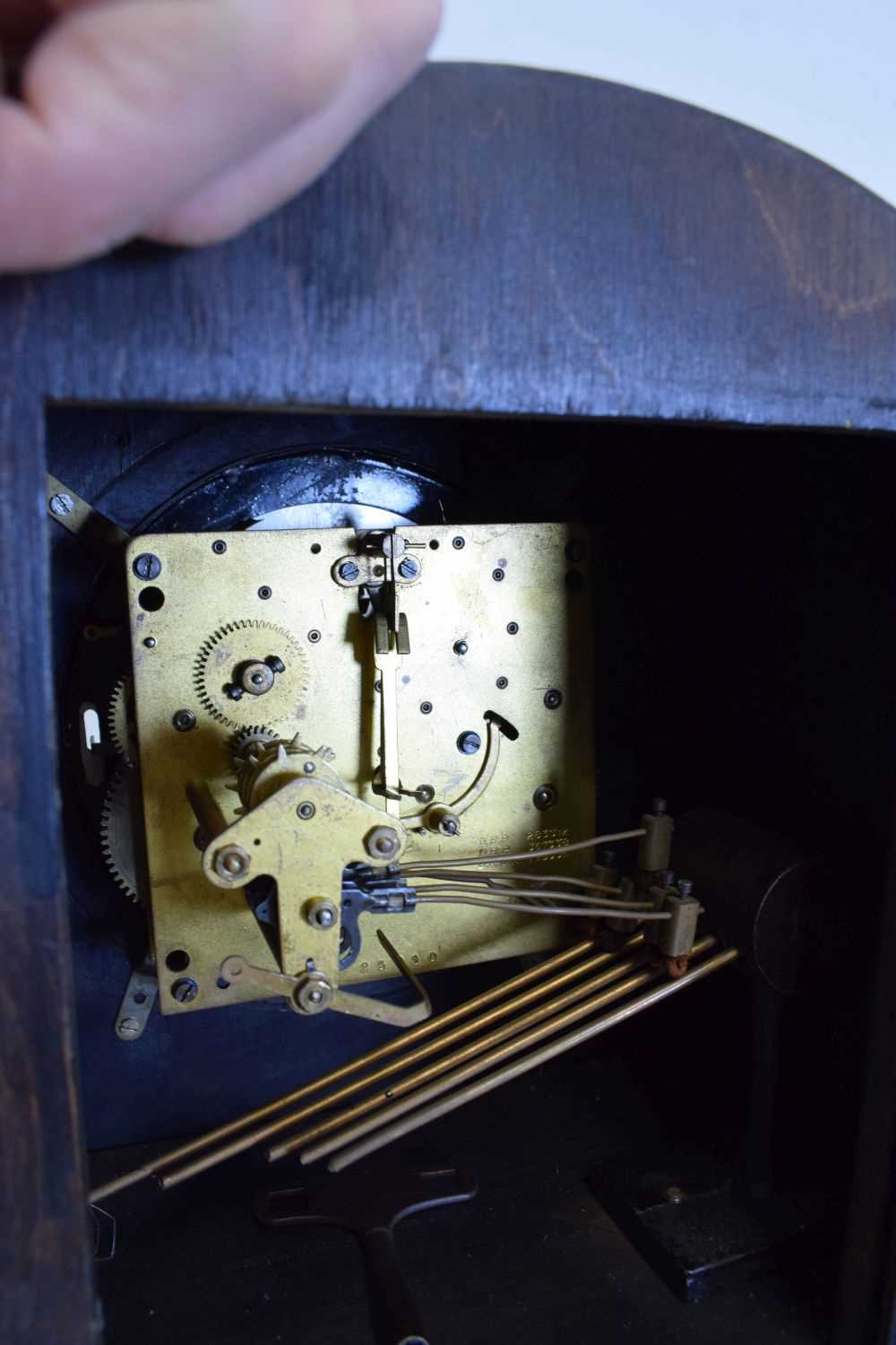 Oak-cased 'grand-daughter' clock with chiming movement - Image 5 of 5
