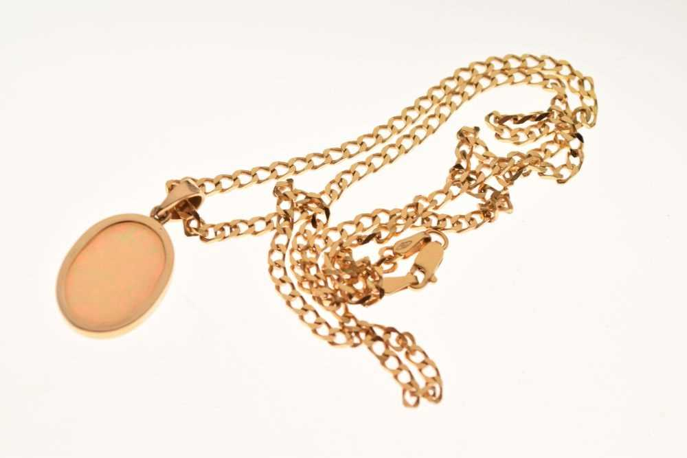 Yellow metal and opal pendant - Image 2 of 3