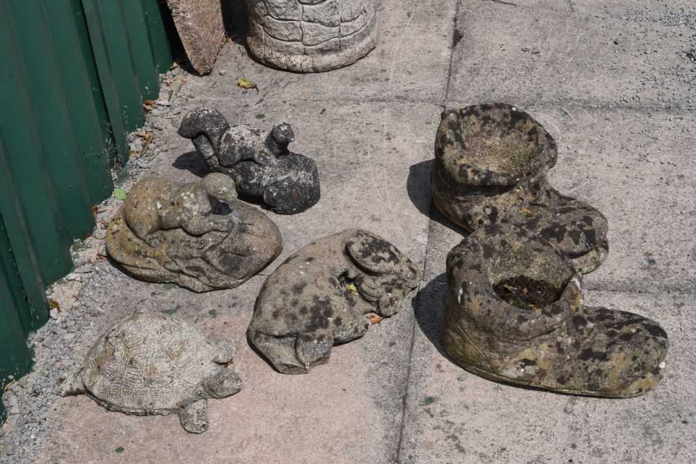 Group of composite stone animal garden ornaments - Image 3 of 3