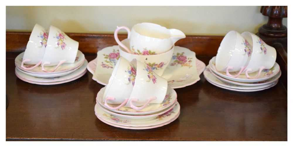 Shelley bone china floral decorated teawares