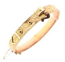 9ct gold engraved belt-buckle design snap bangle