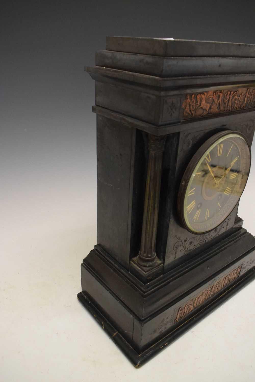 Large French black slate mantel clock - Image 4 of 7