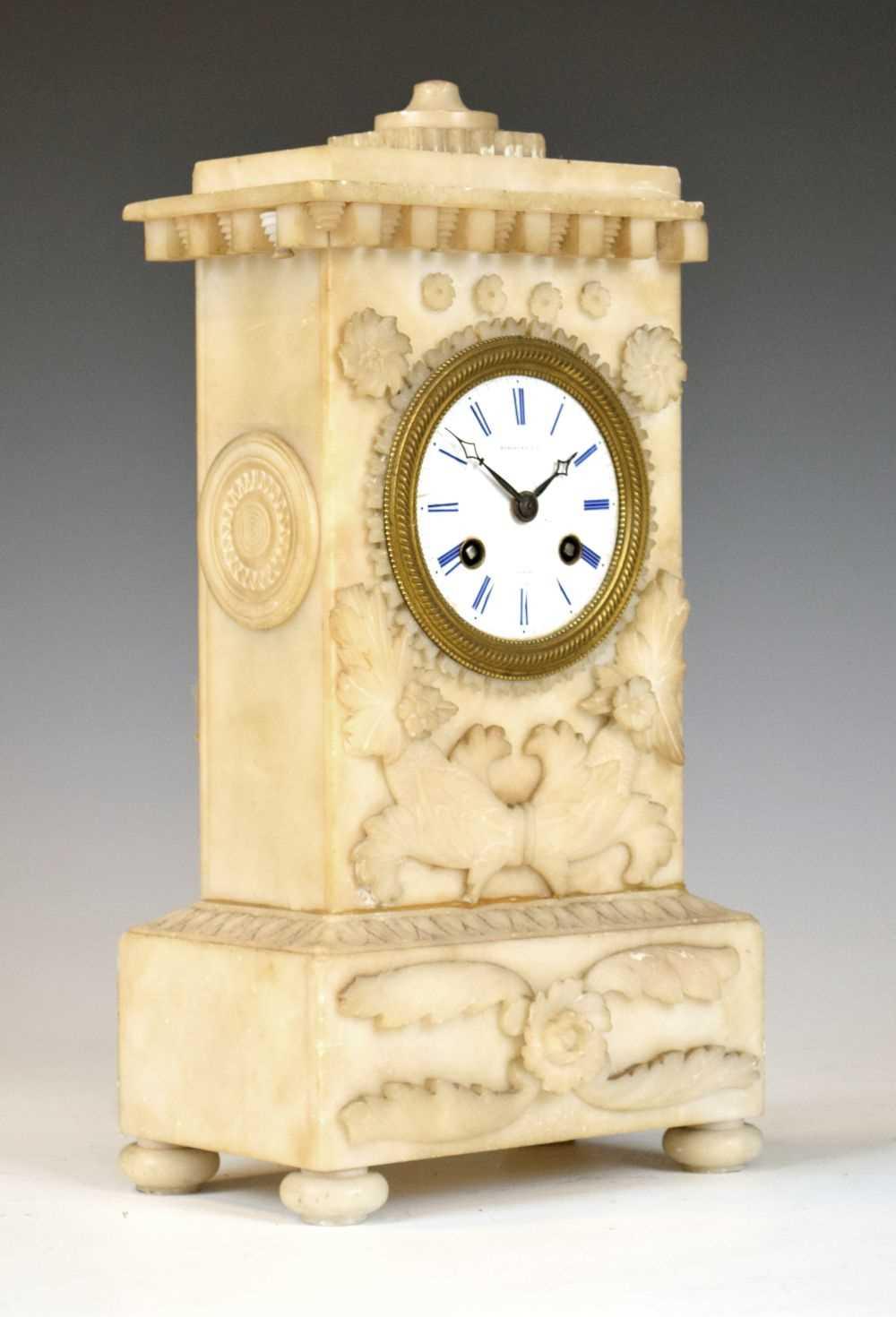 19th Century French alabaster mantel clock, Hodgkins & Co, Paris, No. 7138