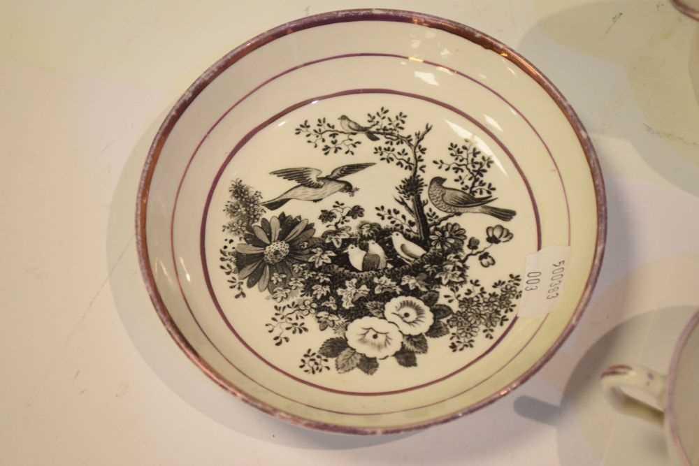 Puce lustre bat printed tea wares - Image 12 of 12