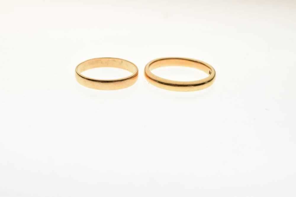 Two 22ct gold wedding bands, 6.5g gross - Image 2 of 3