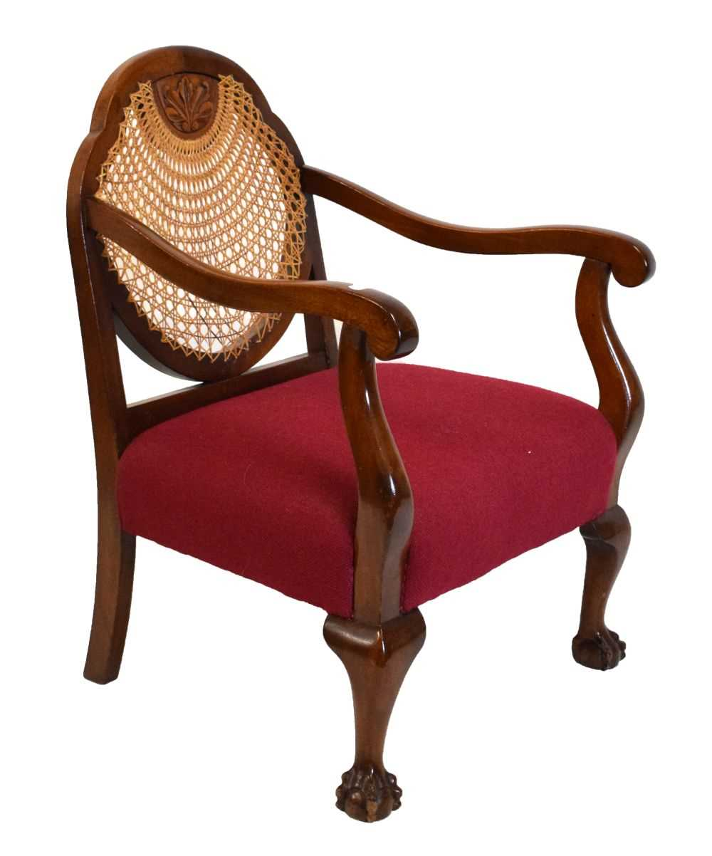 1920's mahogany and cane bergere chair