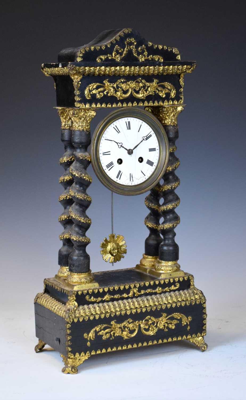 19th Century French ebonised portico clock
