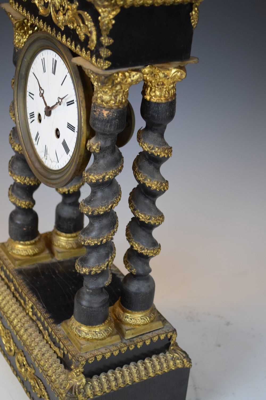 19th Century French ebonised portico clock - Image 8 of 13