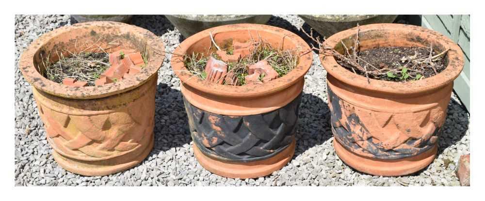 Set of three terracotta planters