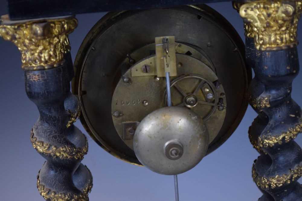 19th Century French ebonised portico clock - Image 11 of 13