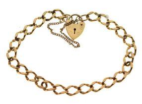 9ct gold curb-link charm bracelet,