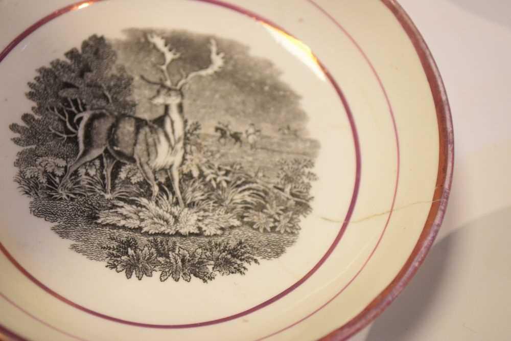 Puce lustre bat printed tea wares - Image 7 of 12