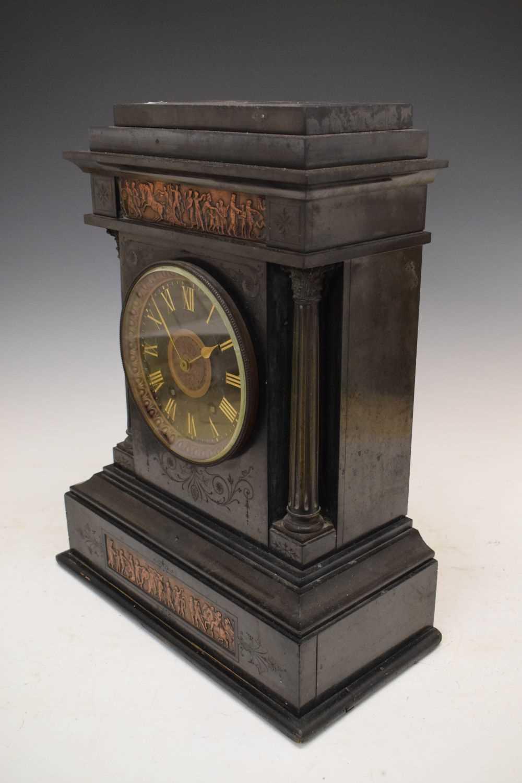 Large French black slate mantel clock - Image 5 of 7