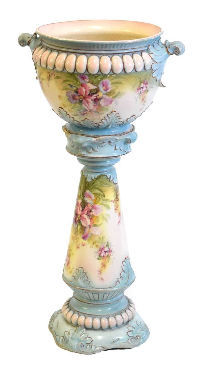 Floral pottery jardiniere and stand