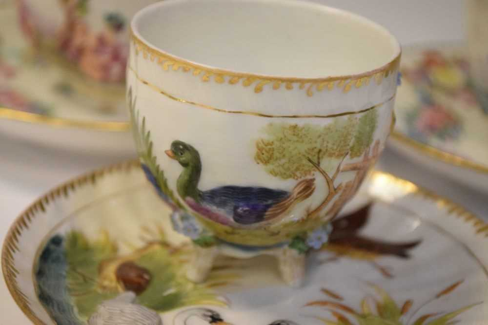 Three Capodimonte cups and saucers - Image 2 of 8