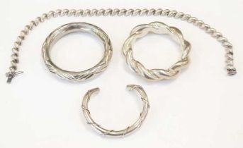 925 sterling necklace, bangle, white metal bangle and plated bangle