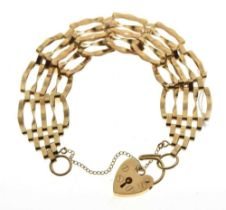 9ct gold gate-link bracelet, 11g approx