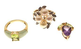 Two 9ct gold gem set dress rings