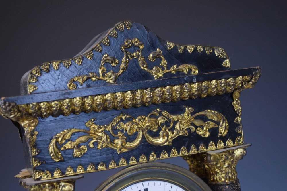 19th Century French ebonised portico clock - Image 4 of 13