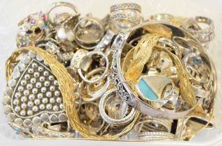 Selection of silver and white metal rings