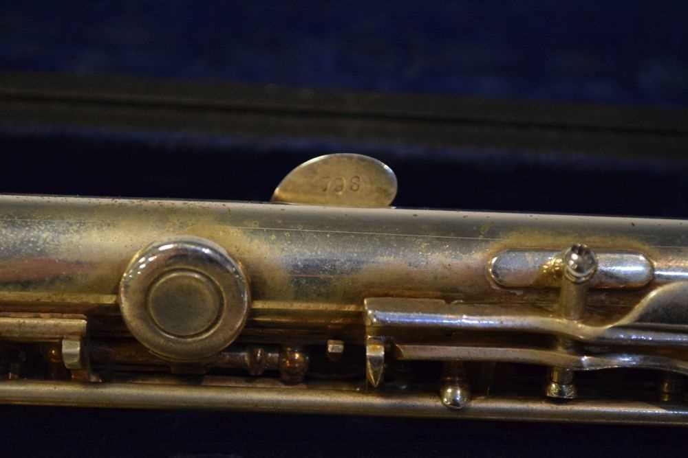Cased nickel plated flute by Rampone & Cazzani, Milan - Image 3 of 5