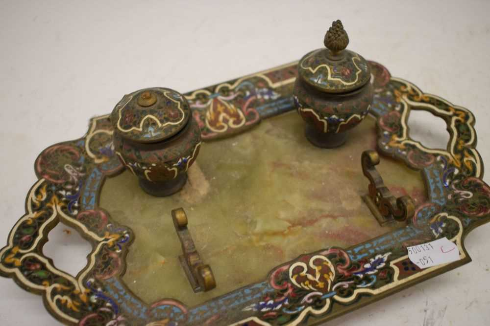 Green onyx and champleve enamel inkstand - Image 2 of 4