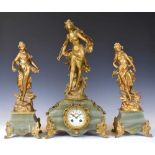 French gilt spelter and green onyx three-piece clock garniture, Japy Freres,